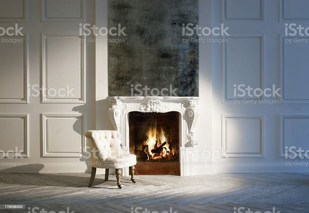 Small White Sofa Chair Set By Small Fireplace In Modern
