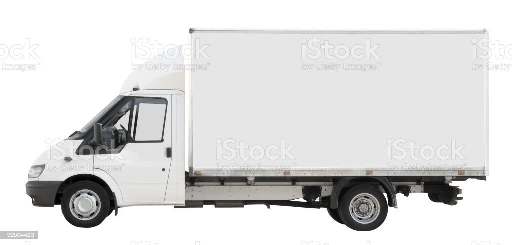 Small white truck [with clipping paths] royalty-free stock photo