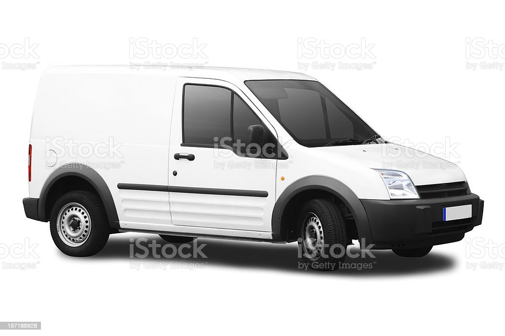 Small white van isolated on a white background stock photo