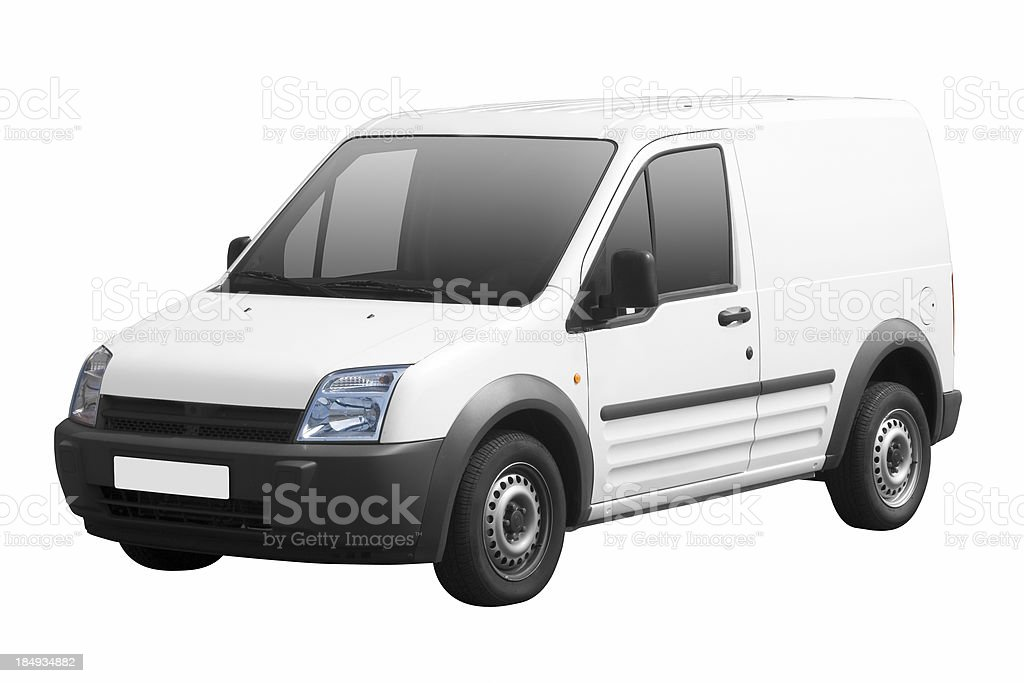 Small white van isolated on white background with path royalty-free stock photo