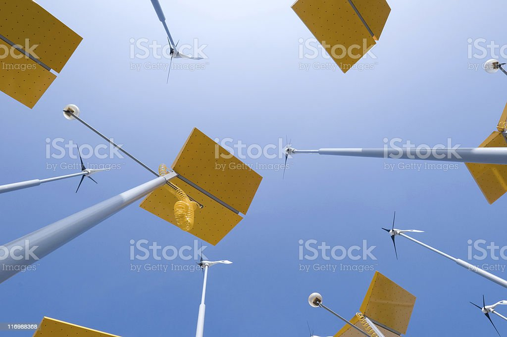 Small wind turbines and solar panels royalty-free stock photo