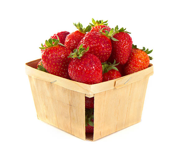 Small Wood Pint Box Of Fresh Strawberries Small Wood Pint Box Of Fresh Strawberries fruit carton stock pictures, royalty-free photos & images