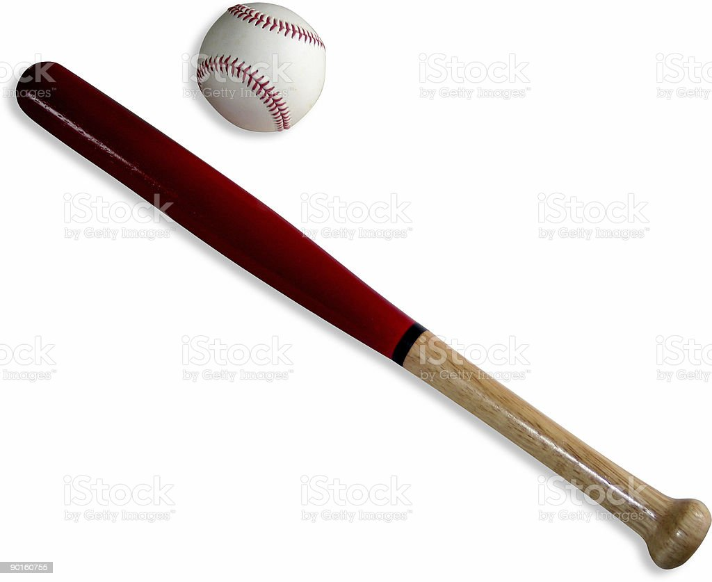Small Wooden Bat with Ball stock photo