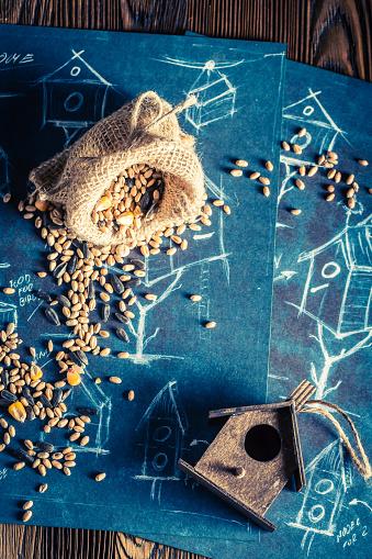 Kleine Hölzerne Vogelhäuschen Und Plan Zu Bauen Stockfoto und mehr Bilder von Arbeiten