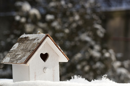 Small wooden birdhouse in snow on blurred background Christmas tree