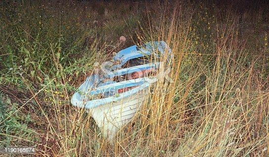 Small wooden boat abandoned in the grass. Scan of Kodak Ektar 100 colour film