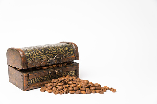 Small Wooden Box With Coffee Beans On White Background Stock