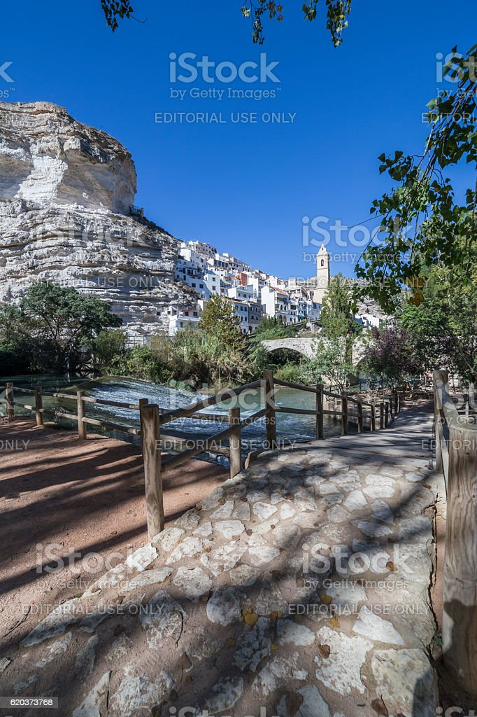 Small wooden bridge over the river Jucar, Spain zbiór zdjęć royalty-free