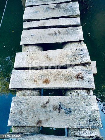 Small wooden bridge over the river