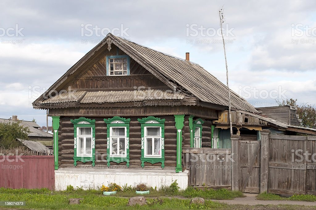 Small wooden country house stock photo