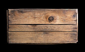 istock Small wooden crate on black background 157614717