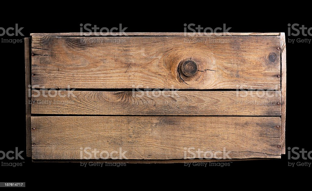 Small wooden crate on black background stock photo