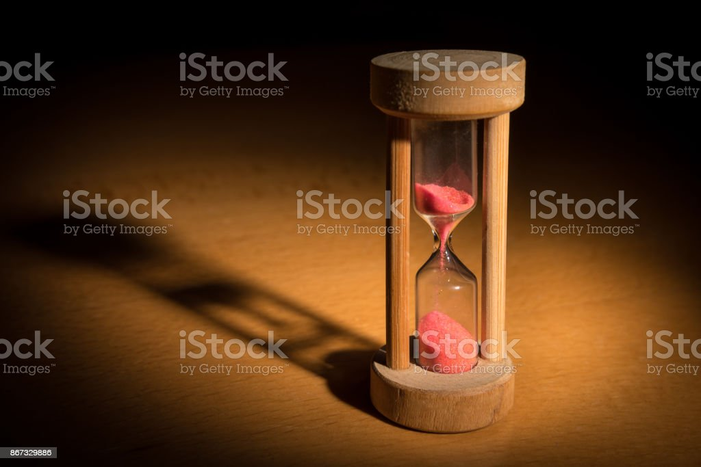 Small wooden hourglass stock photo