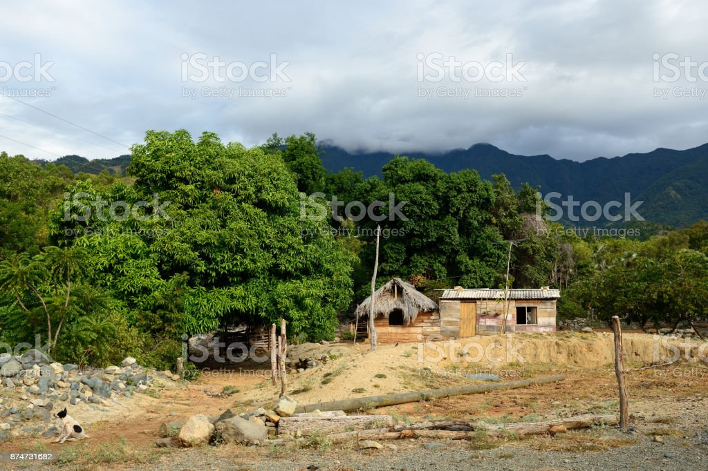 Small wooden house, in the mountains stock photo