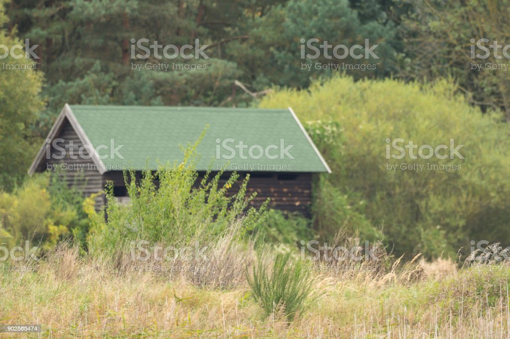 Small wooden hut in the middle of the wilderness stock photo