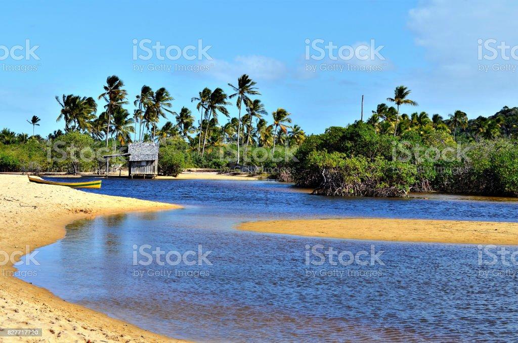 Pequena cabana de madeira em uma praia do litoral brasileiro cercada pela margem do rio pequeno, em Trancoso, na cidade de Porto Seguro, Bahia, Brasil. - foto de acervo