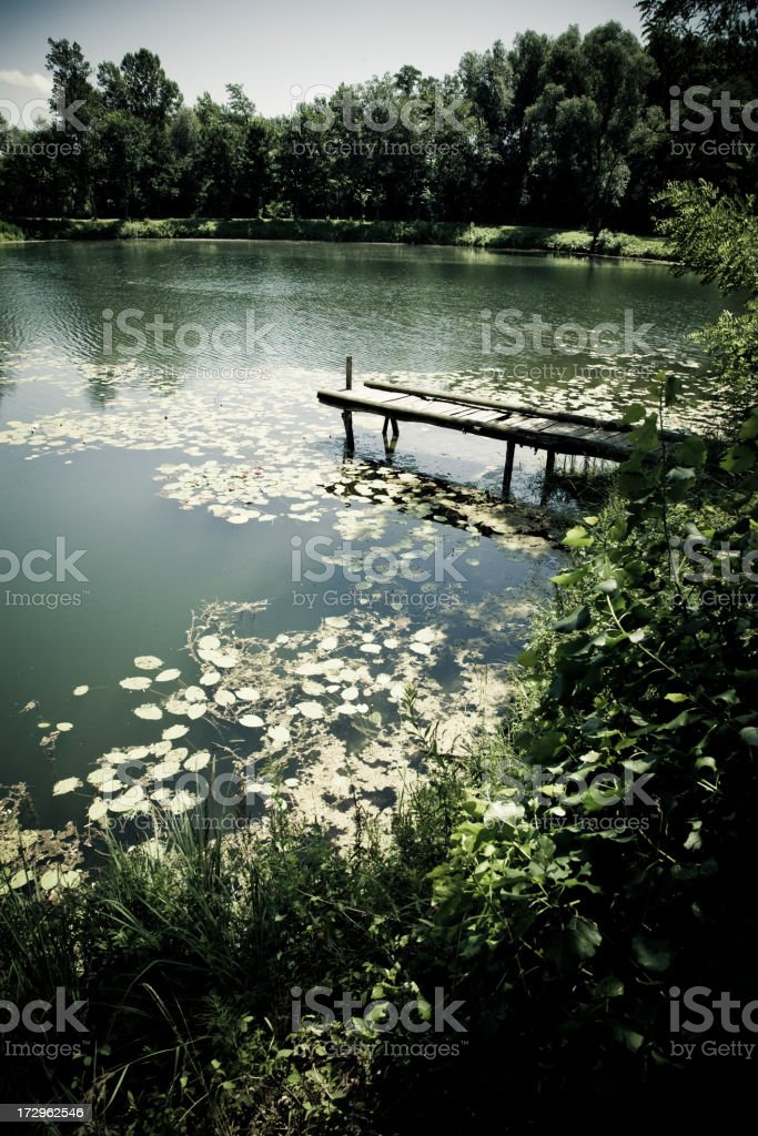 Small wooden pier royalty-free stock photo