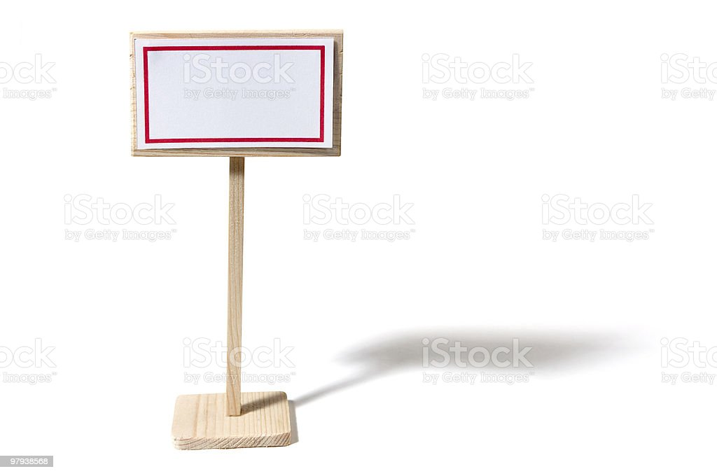 Small Wooden Sign With Shadow royalty-free stock photo