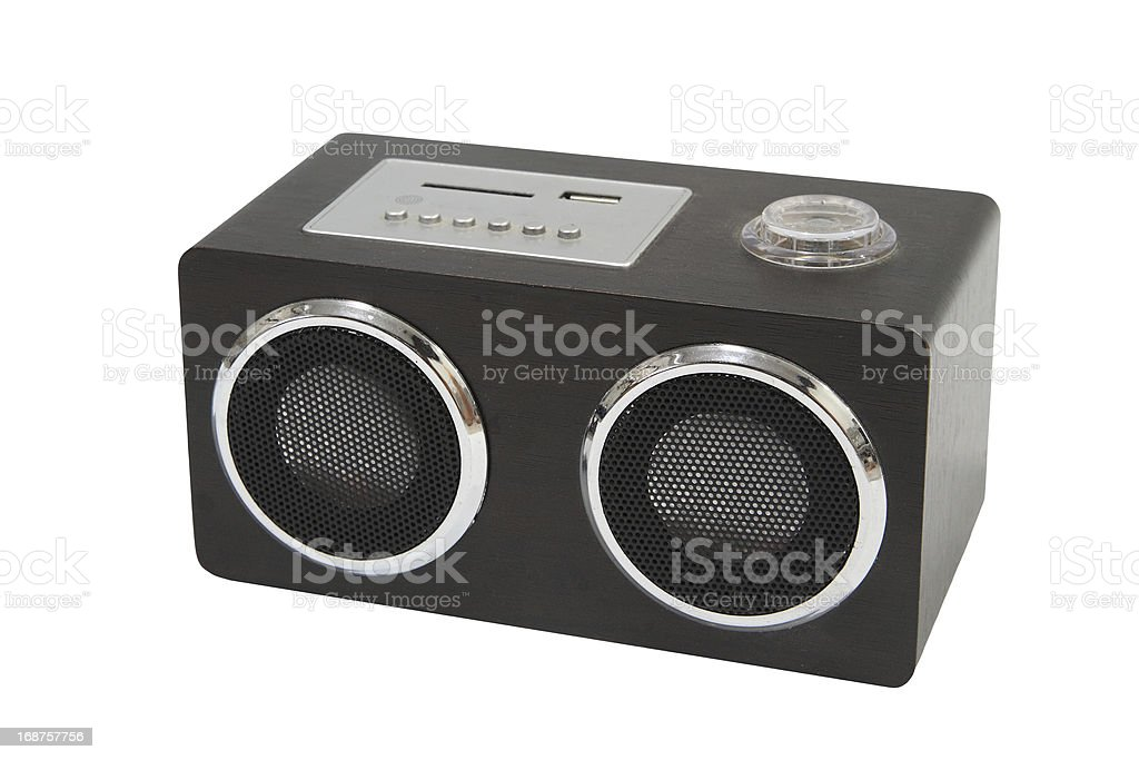 Small wooden speaker or player isolated on white stock photo