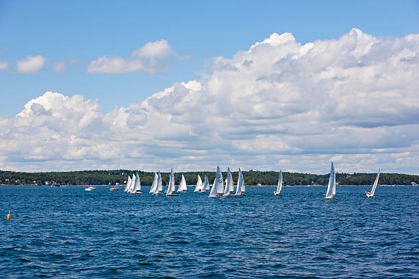 Small yachts sailing in Maine stock photo