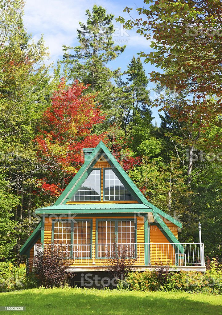 Small Yellow and Green Swiss Chalet royalty-free stock photo
