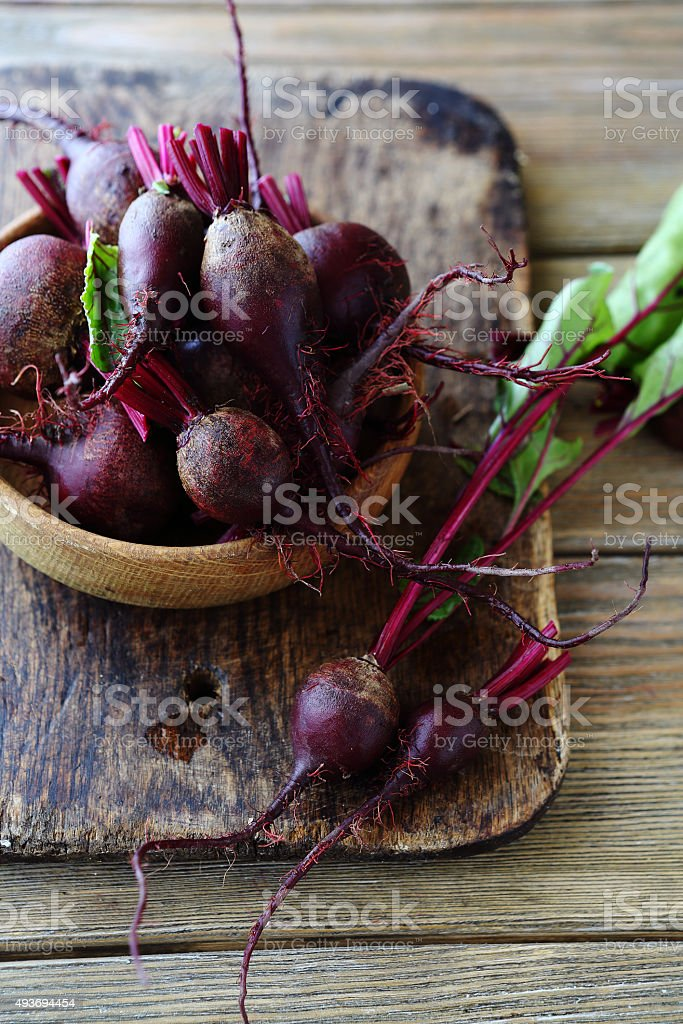 small young beets in bowl stock photo