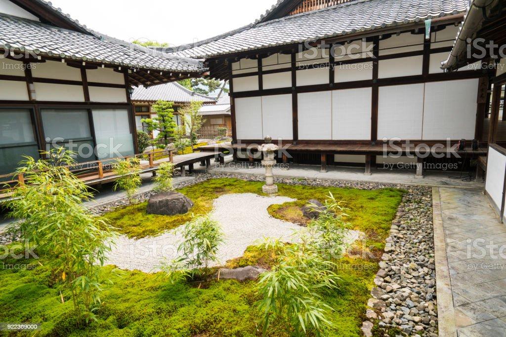 Small Zen Garden Between Chionji Temple Walls In Kyoto Japan Stock