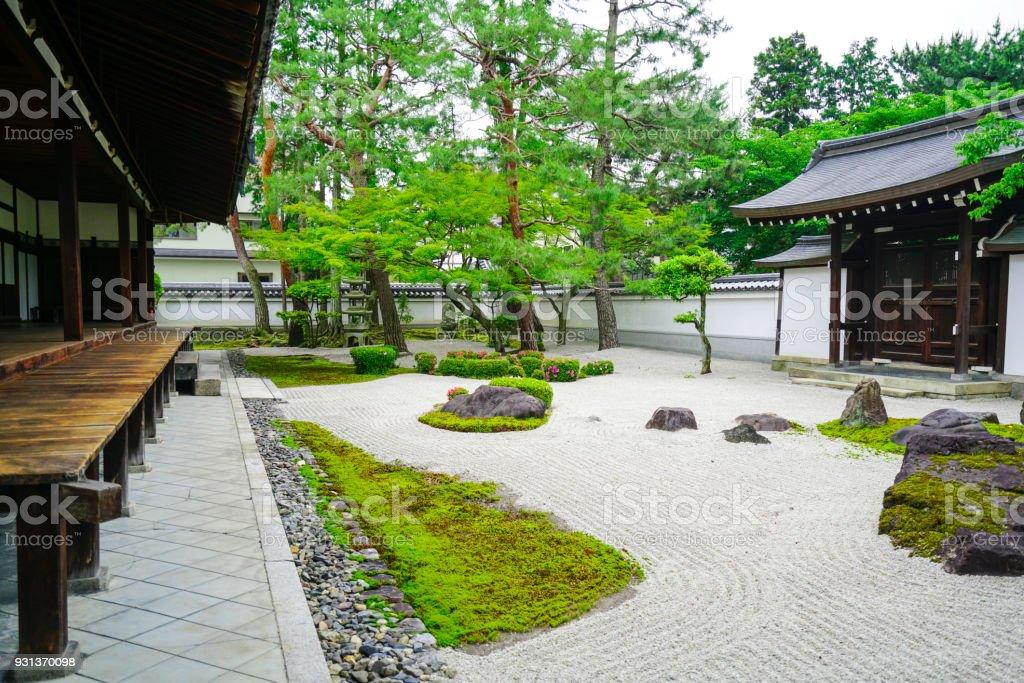 Small Zen Garden Between Chion Ji Temple Walls In Kyoto, Japan Royalty Free