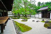 Small Zen garden between  Chion-ji temple walls in Kyoto, Japan