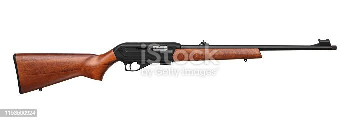 Small-bore rifle 22 lr with wooden butt isolated on white background.