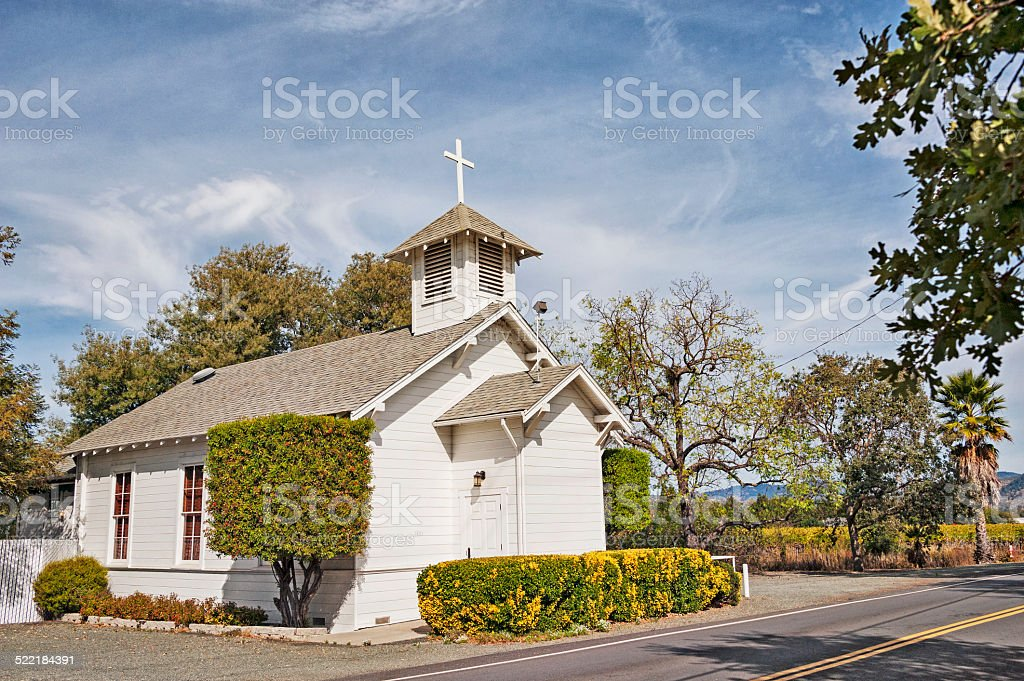 Smaller Napa Valley Church with Vinyard stock photo