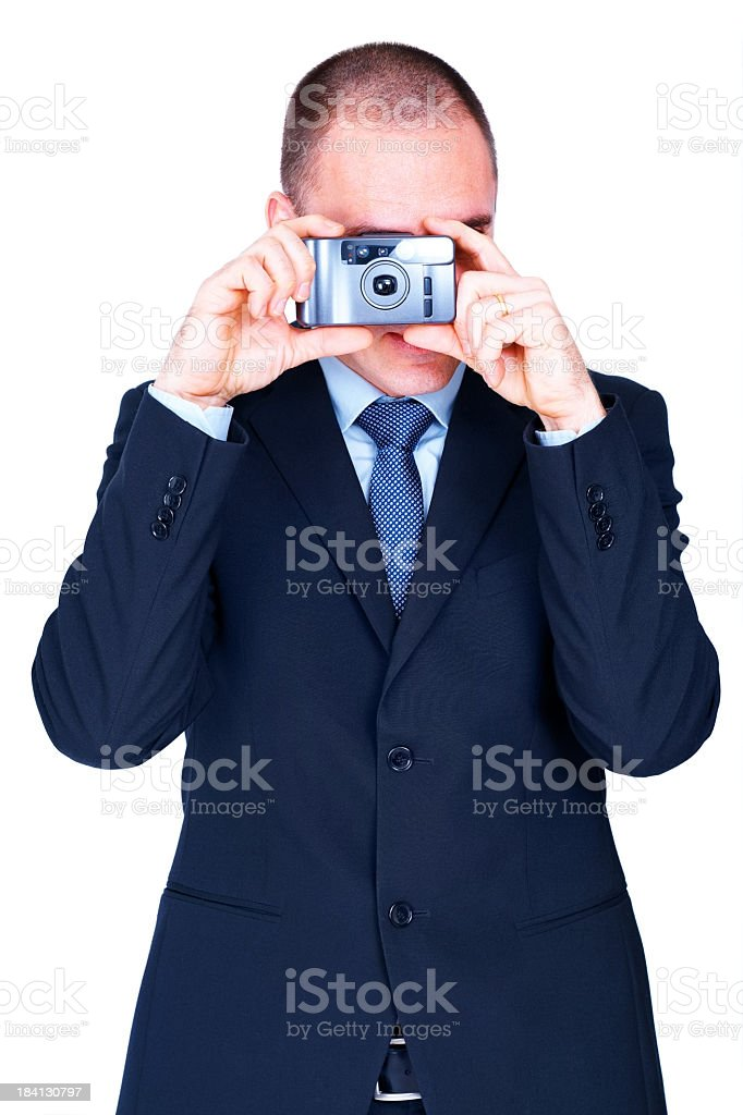 Smart adult businessman taking a picture royalty-free stock photo