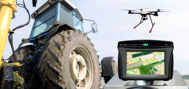 Smart agriculture , farm , precision farming concept. Automation Drone , tractor , NIR images processing application screen device create field health maps for normalize difference vegetation index. stock photo