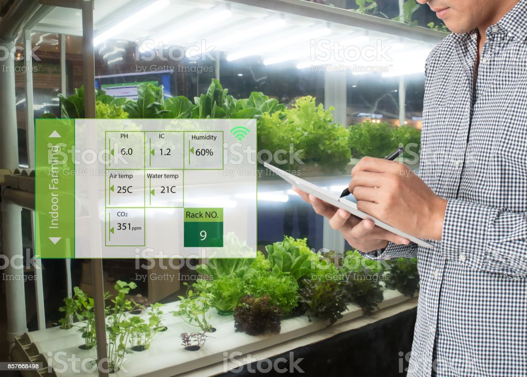 Smart Agriculture In Futuristic Concept Farmer Use Technology To