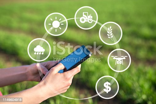 1047941544istockphoto Smart agriculture. Tablet in the field with weather, machinery, crops, drone and money concept. 1149604918