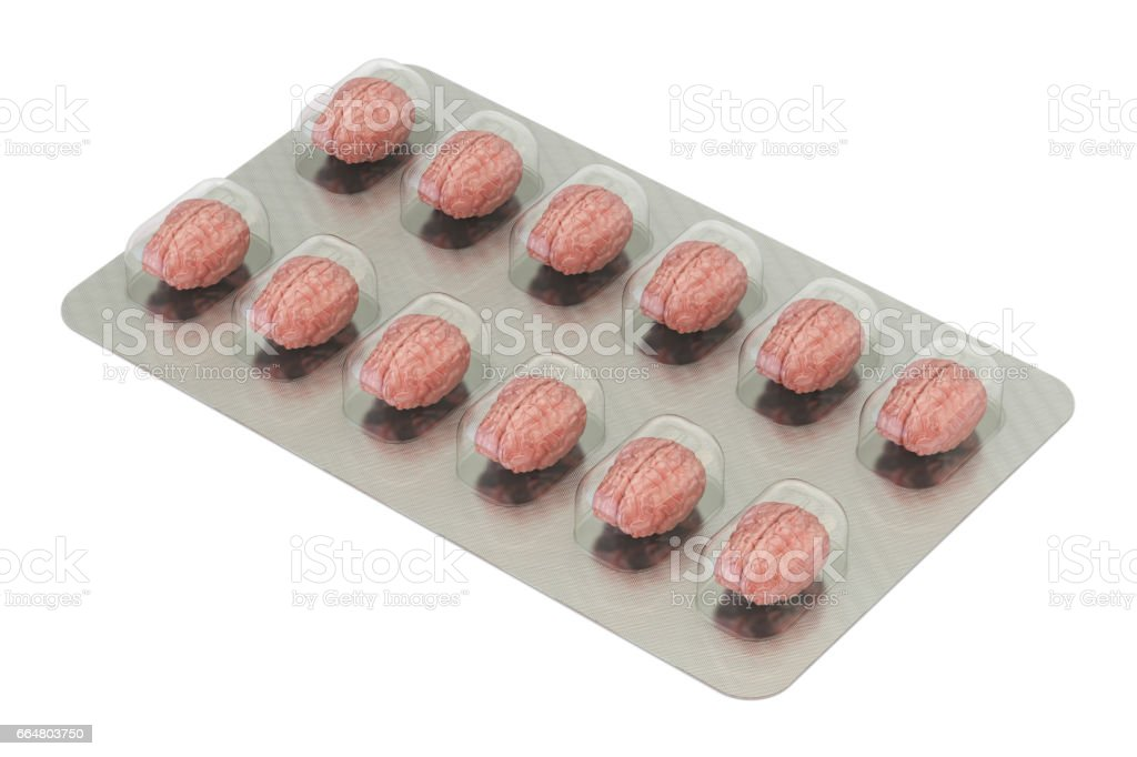Smart Aid concept. Brain Pills in the blister, 3D rendering stock photo