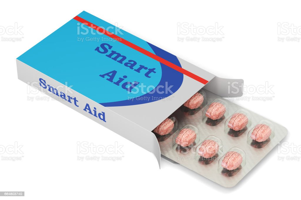 Smart Aid concept. Brain Pills in the blister with package, 3D rendering stock photo