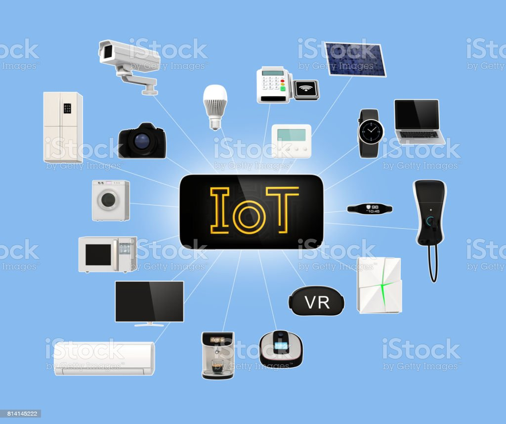 Smart appliances connected by network stock photo