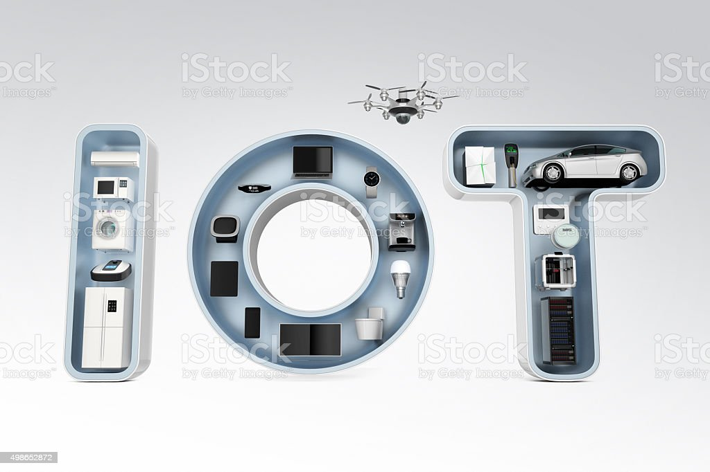 Smart appliances in word IoT for Internet of Things concept. stock photo