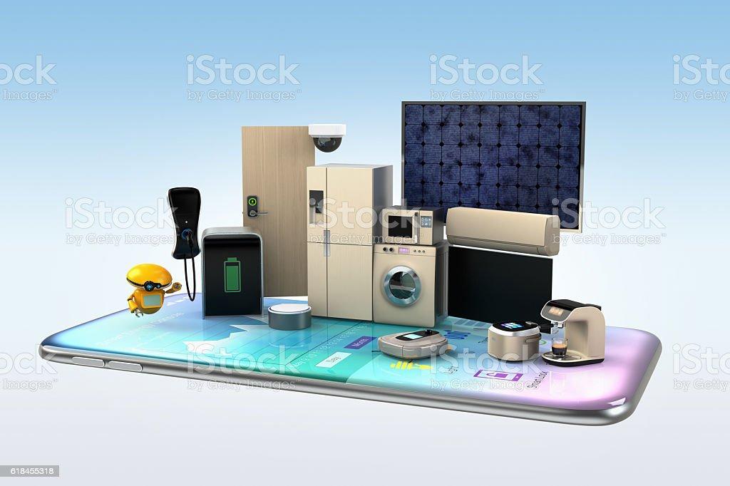 Smart appliances on a smart phone stock photo