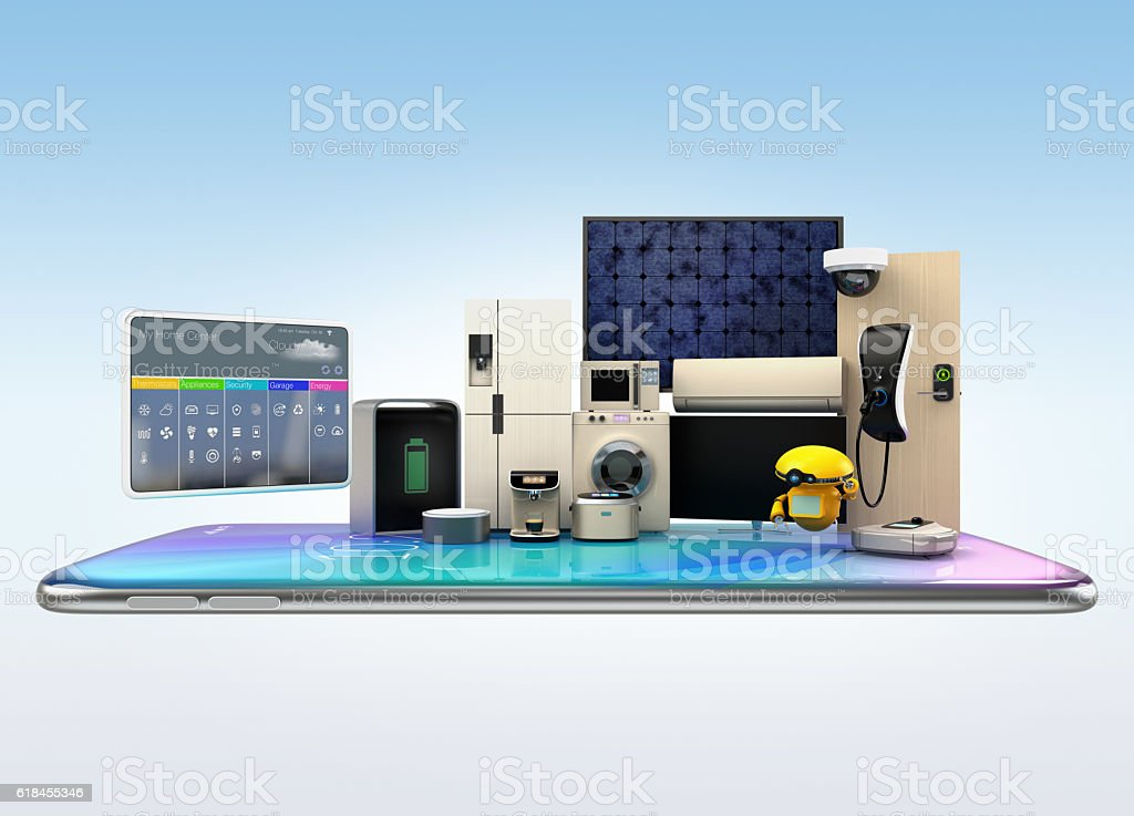 Smart appliances on a smart phone stock photo