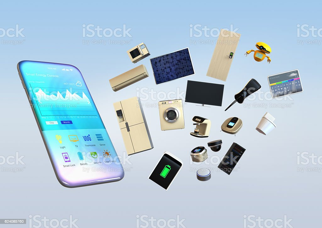 Smart appliances pop up from smart phone stock photo