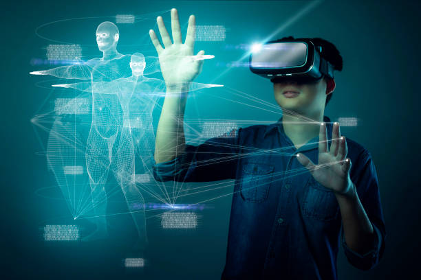 smart attractive asian man vr with examine human body system health and technology ideas concept smart attractive asian man vr with examine human body system health and technology ideas concept augmented reality stock pictures, royalty-free photos & images