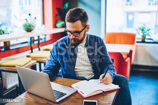 1174436608 istock photo Smart bearded student searching information on websites and making notes in notepad sitting in stylish coworking space and using 4g internet connection.Hipster blogger planning working process 1158478001