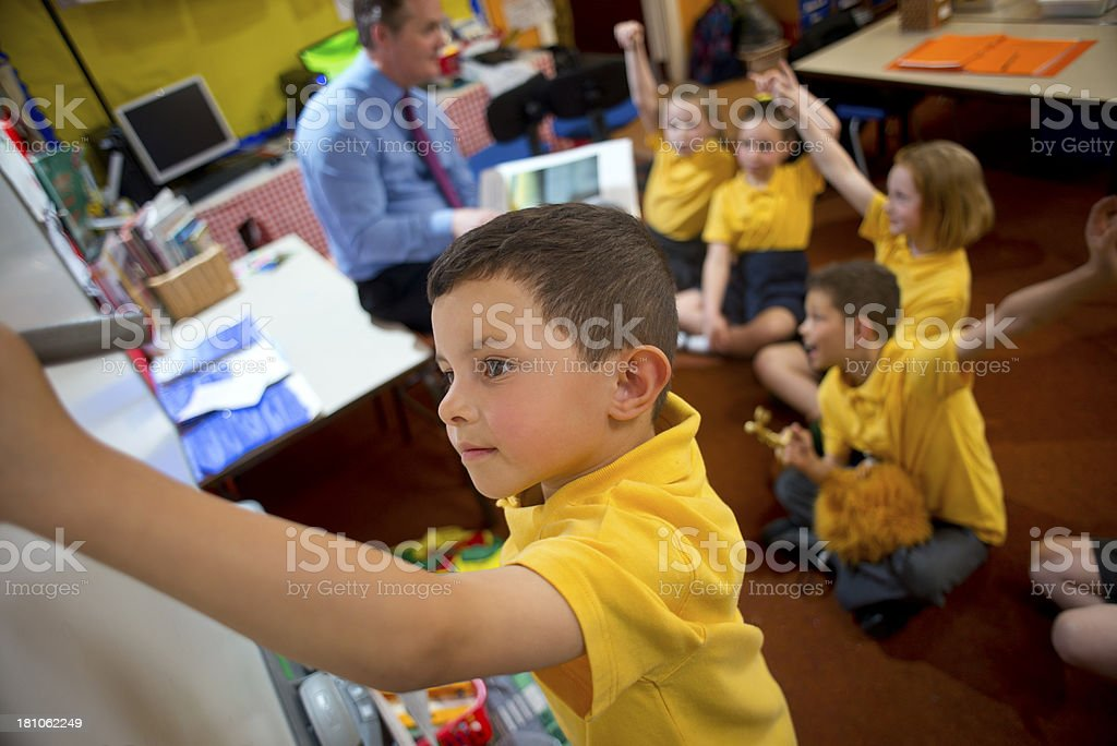 smart board boy stock photo