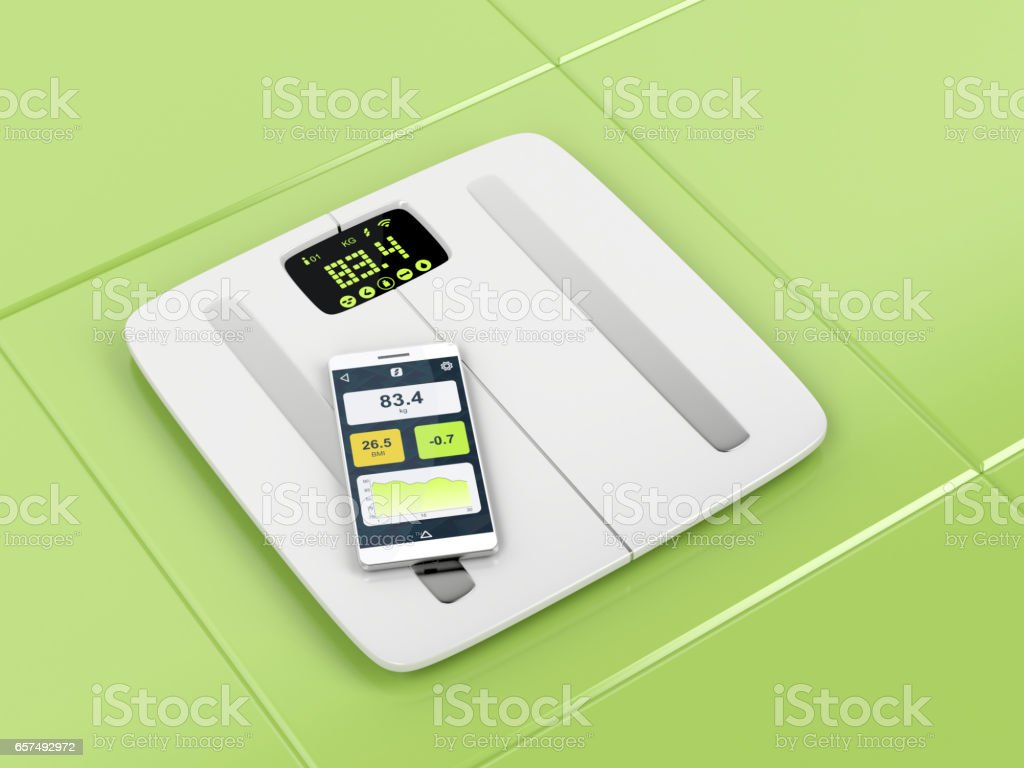 Smart body analyzer and smartphone stock photo