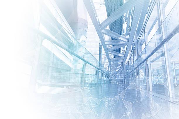 Elegante edificio de malla de red, resumen imagen visual - foto de stock