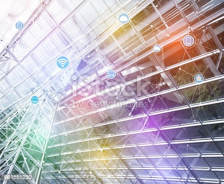 istock smart building and wireless communication network, abstract image visual, internet of things 661551230