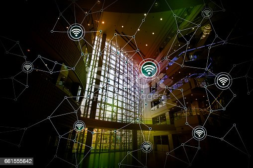 istock smart building and wireless communication network, abstract image visual, internet of things 661555642