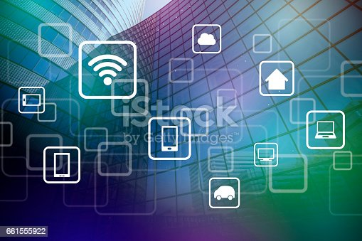 istock smart building and wireless communication network, abstract image visual, internet of things 661555922